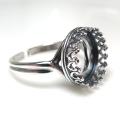 銀古美 指輪リング空枠クラウン(ベゼルセッティング/カボション用)(ラウンド 12mm)(真鍮ブラス・アンティークシルバー)(1個)
