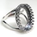 銀古美 指輪リング空枠クラウン(ベゼルセッティング/カボション用)(オーバル 16×12mm)(真鍮ブラス・アンティークシルバー)(1個)