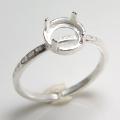 ブラス 指輪 リング ハンマード 空枠 4本爪(ラウンド/カボション用)6mm(真鍮ブラス・シルバーカラー)(3個)