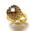 スモーキークオーツ 指輪 リング 天然石 スクエア クッション チェッカーカット(カボション10mm)(真鍮ブラス・ゴールドカラー)(1個)