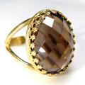 スモーキークオーツ 指輪 リング 天然石 チェッカーカット(カボションオーバル・18×13mm)(真鍮ブラス・ゴールドカラー)(1個)