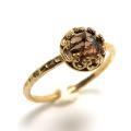 スモーキークオーツ 指輪 リング ローズカット 天然石 ハンマード ラウンド6mm 真鍮ブラス・ゴールドカラー/1個