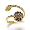 天然石スモーキークオーツ・ローズカット指輪リング・リーフ(ベゼルカボションラウンド・6mm)(真鍮ブラス・ゴールドカラー)(1個)