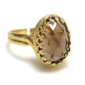 天然石スモーキークオーツ指輪ローズカット(カボションオーバル・14×10mm)(真鍮ブラス・ゴールドカラー)(1個)