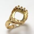指輪リング空枠クラウン(ベゼルセッティング/カボション用)(スクエア10mm)(真鍮ブラス・ゴールドカラー)(2個)