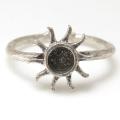 太陽 指輪 サン シルバー ブラスリング 空枠 石枠 ラウンド4mm (真鍮ブラス・シルバーカラー)3個