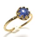 タンザナイト 指輪 リング 天然石<12月誕生石>ハンマード ラウンド6mm 真鍮ブラス・ゴールドカラー/1個