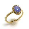 天然石タンザナイト<12月誕生石>・指輪ハンマードリング(カボションオーバル・8×6mm)(真鍮ブラス・ゴールドカラー)(1個)