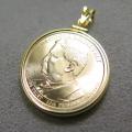 大統領1ドル貨(第26代セオドア・ルーズベルト)・コインペンダント・バチカン付「14kgf・ゴールドフィルド」(1個)