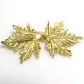 フック留具 ネックレス金具(リーフ・B)(真鍮ブラス・ゴールドカラー)(1個)