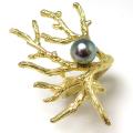 ブランチリング 国産貝パール 指輪 ラウンド7mm ブラックピーコック (真鍮ブラス・ゴールドカラー)(1個)