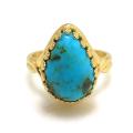 ターコイズ<12月誕生石>(アリゾナ産) ペア カボション 天然石指輪 (14×10mm)(真鍮ブラス・ゴールドカラー)(1個)