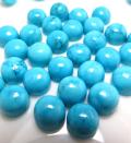 天然石ルース(裸石)・ターコイズ(リコンスティチューテッド・中国)/ラウンド(8mm)カボションカット(5個)