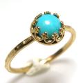 ターコイズ リング 指輪 アリゾナ スタビライズド<12月誕生石> 天然石 ハンマード ラウンド6mm 真鍮ブラス・ゴールドカラー/1個
