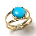 天然石指輪  ターコイズ(アメリカ)カボション4本爪ラウンド8mm)(真鍮ブラス・ゴールドカラー)(1個)