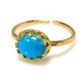 天然石指輪  ターコイズ(アメリカ)ハンマードリング(カボションオーバル横8×6mm)(真鍮ブラス・ゴールドカラー)(1個)