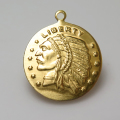 インディアンコイン ペンダント チャーム(アンティーク/ビンテージ調)(15mm)(真鍮ブラスカラー)(20個)