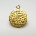 インディアンコイン ペンダント チャーム(アンティーク/ビンテージ調)(10mm)(真鍮ブラスカラー)(35個)