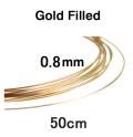 14kgfワイヤー「ラウンド・ワイヤー」(ハーフハード)【0.81mm×50センチ】「ゴールドフィルド」(1本)