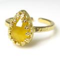 イエローカルセドニー(染) リング指輪 天然石(カボション ローズカット ペアシェイプ・10×7mm)(真鍮ブラス・ゴールドカラー)