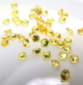 天然石ルース(裸石)・イエローサファイア(加熱処理)(アフリカ産)/ラウンド【2mm】ダイヤモンドカット(5個)