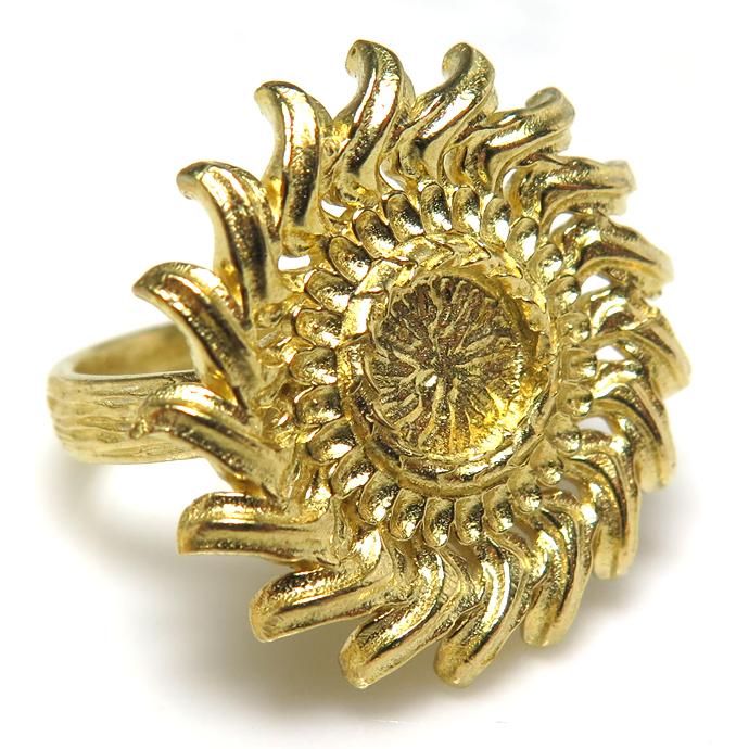 ひまわり サンフラワー リング 指輪 花 6mm空枠(カボション用)真鍮ブラス・ゴールドカラー(1個)