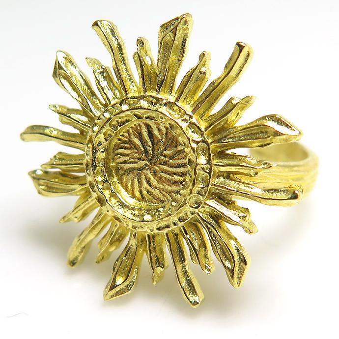 サン 太陽 リング 指輪 6mm空枠(カボション用)真鍮ブラス・ゴールドカラー(2個)