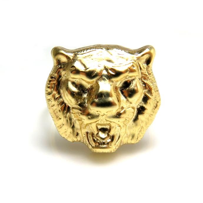 モチーフリング(14kgf指輪)(タイガー)(サイズ目安:13号)「ゴールドフィルド」(1個)