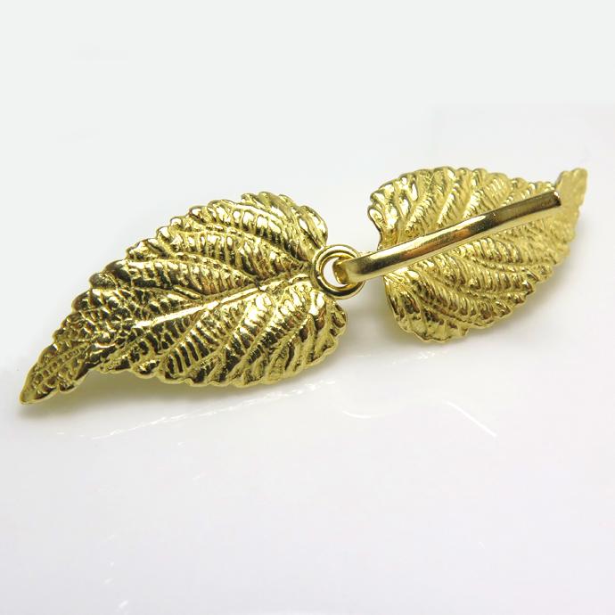 留具フック ネックレス金具(リーフ・A)(真鍮ブラス・ゴールドカラー)(5個)