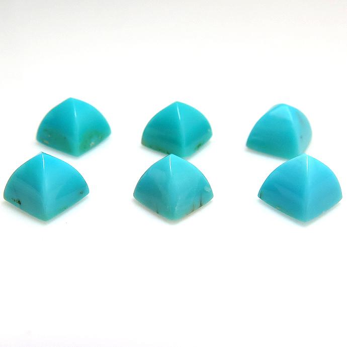 天然石ルース(裸石) ターコイズ トルコ石 / ピラミッド カボション 【5mm】 2個