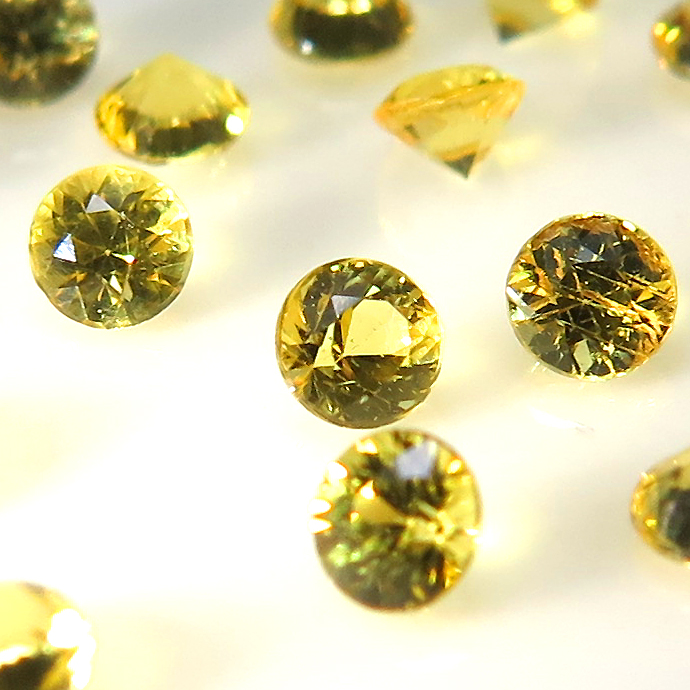 天然石ルース(裸石)・カナリアイエローサファイア(セイロン・スリランカ産/加熱処理)/ラウンド【3mm】ダイヤモンドカット(2個)