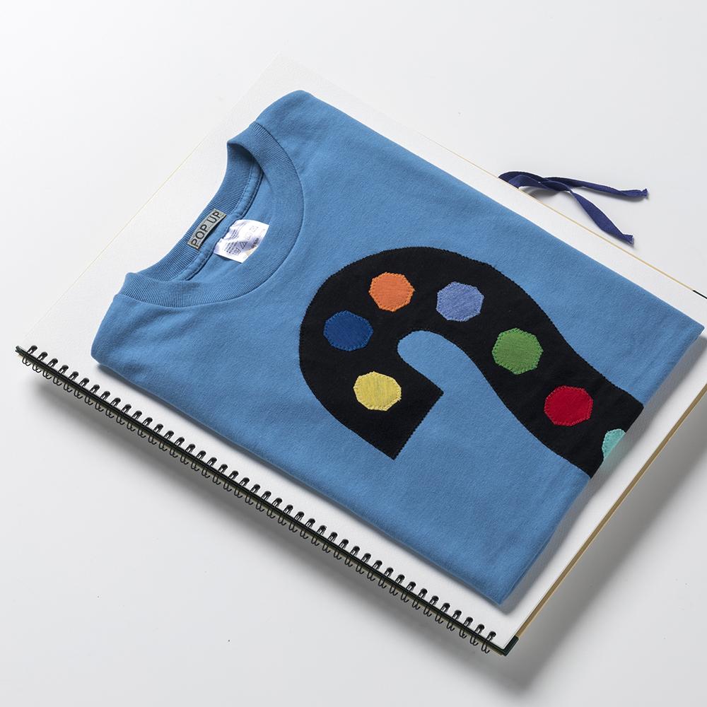 原明子 アートなTシャツ 【M(Ladys:L)】 <ギモン?とコウテイ!> |Pop Up Studio(静岡県)] ポップ アップリケ モダンアート
