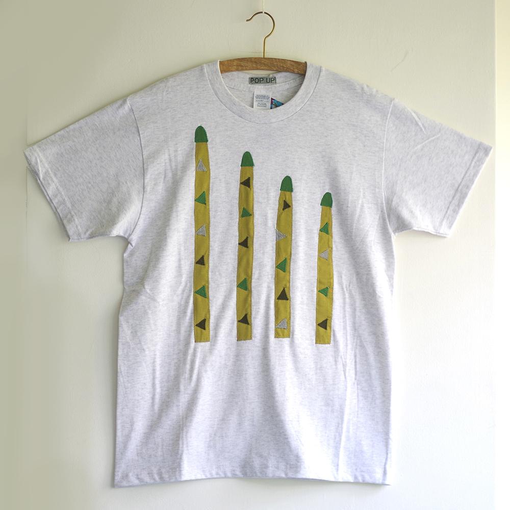 原明子 アートなTシャツ (M) No.7075 「アスパラガス」 [Pop Up Studio 原明子(静岡県)] ポップ アップリケ モダンアート