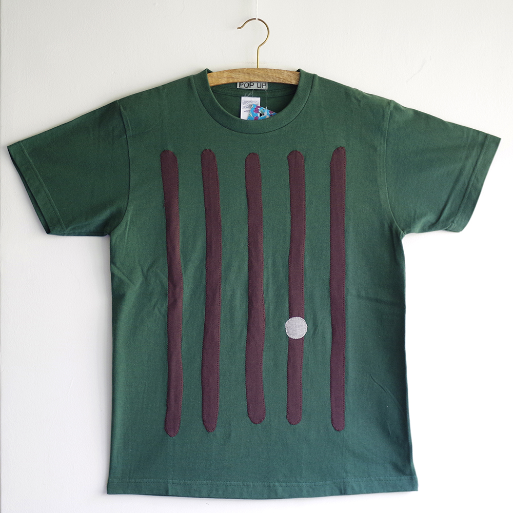 原明子 アートなTシャツ (S) No.7082 「ライン&ドット」 [Pop Up Studio|原明子(静岡県)] ポップ アップリケ モダンアート