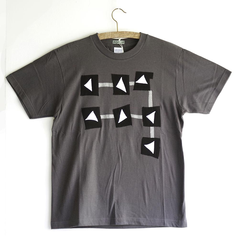 原明子 アートなTシャツ (S) No.8008 「ステップ」 [Pop Up Studio 原明子(静岡県)] ポップ アップリケ モダンアート