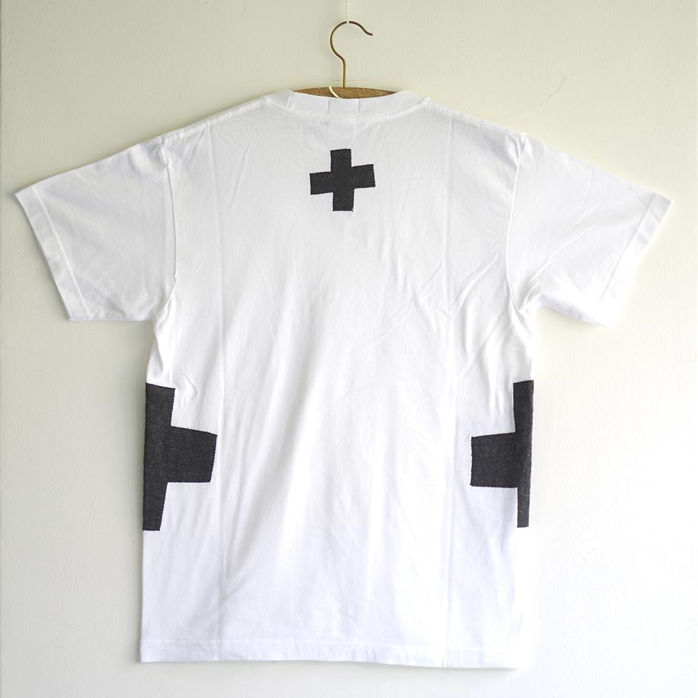原明子 アートなTシャツ (S)  No.7087 「クロス」[Pop Up Studio 原明子(静岡県)] ポップ アップリケ モダンアート