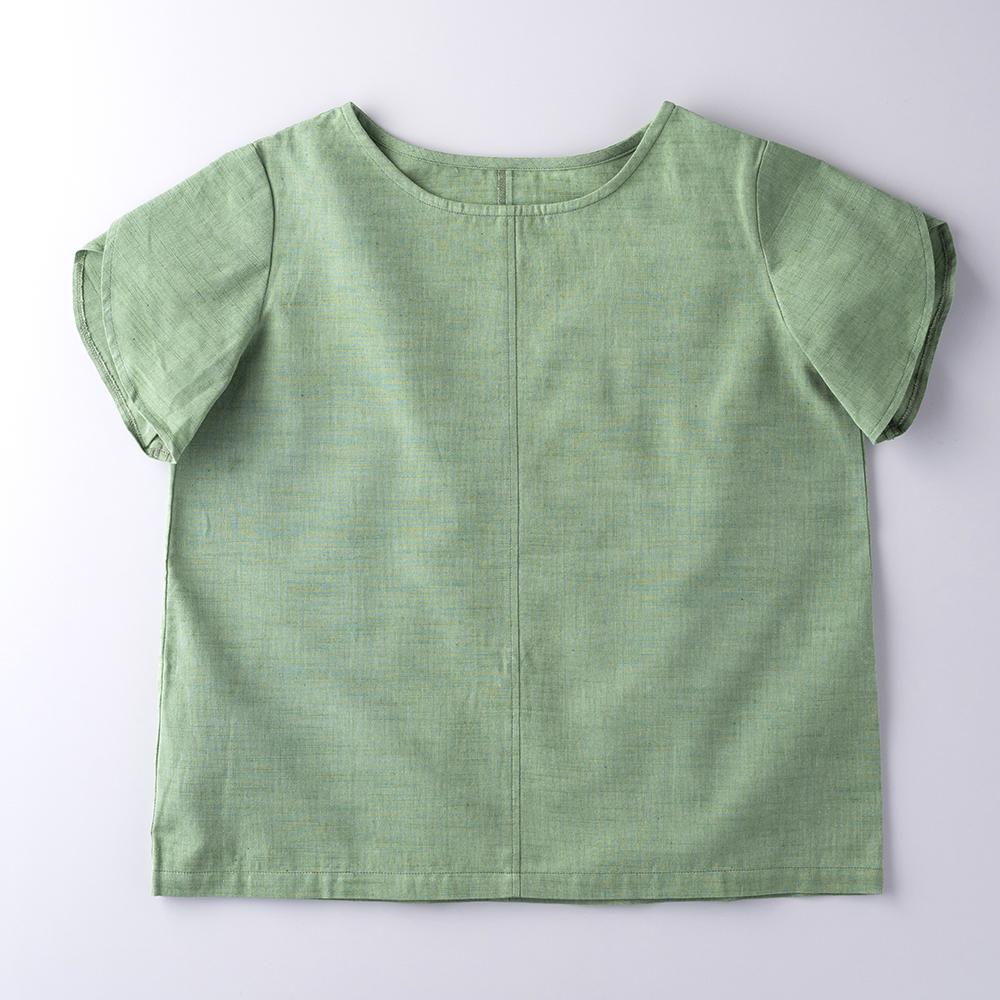 会津木綿のいろはブラウス(花びら袖)