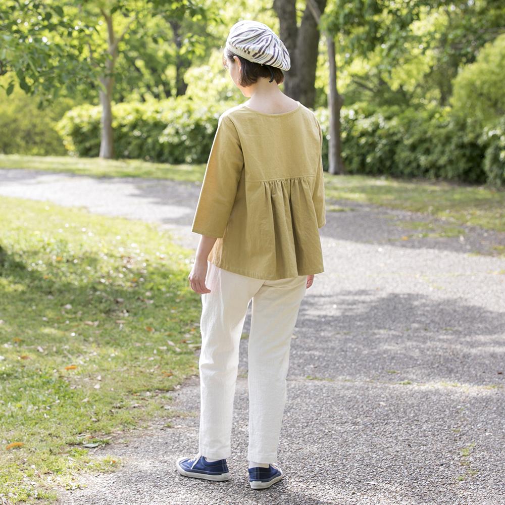 備後節織うしろギャザーブラウス [暮らしの衣 あじさい|西友里さん(石川県)] しろ・からし