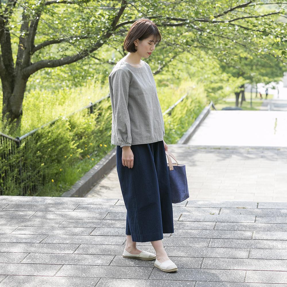 備後節織いろはブラウス [暮らしの衣 あじさい|西友里さん(石川県)] からし・灰色縞