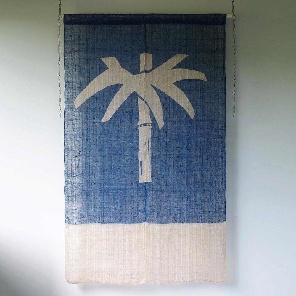 麻 藍染め のれん 竹葉