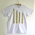原明子 アートなTシャツ (M) No.7075 「アスパラガス」 [Pop Up Studio|原明子(静岡県)] ポップ アップリケ モダンアート