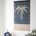 藍染めののれん(ざっくり麻) <竹に葉一つ染分け> |山内武志さん(山内染色工房・アトリエぬいや)暖簾、タペストリー