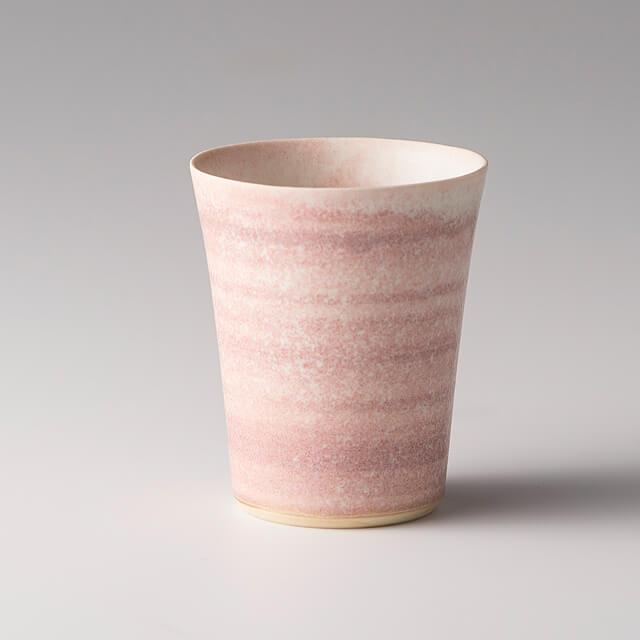 富士山麓から届いたやさしい風「茶杯 ピンクしま」