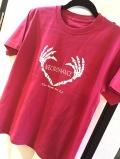 【チャリティー企画商品】【ネクロマンス NECROMANCE】 ハートボーンハンド Tシャツ 〈桃色/Pink/ピンク〉 Heart Bone hand T-Shirt 骸骨