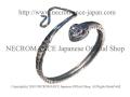 【ネクロマンス NECROMANCE】 ガーネットアイシルバーネークブレスレット Garnet Eye Silver Snake Bracelet 紅瑠石 シルバー 蛇 ヘビ バングル