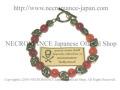 【ネクロマンス NECROMANCE】 レッドアゲート スカルブレスレット Red Agate Skull Bracelet 赤めのう 骸骨