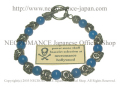【ネクロマンス NECROMANCE】 ブルーアゲート スカルブレスレット Blue Agate Skull Bracelet 青めのう 骸骨
