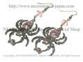 【ネクロマンス NECROMANCE】 ラージドロップピンクスパイダーピアス Large Drop Pink Spider Pierce <ピンク/Pink/桃色> 蜘蛛