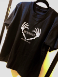 【チャリティー企画商品】【ネクロマンス NECROMANCE】 ハートボーンハンド Tシャツ 〈黒/Black/ブラック〉 Heart Bone hand T-Shirt 骸骨