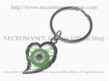 【ネクロマンス NECROMANCE】 イーヴィルアイ ハートキーリング Evil Eye Heart Keyring <グリーン/Green/緑>邪眼 魔除け 御守り 目玉